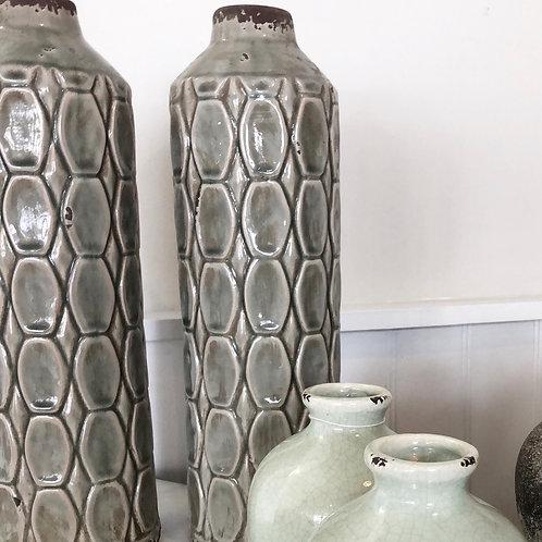 Art Deco style green tall vase