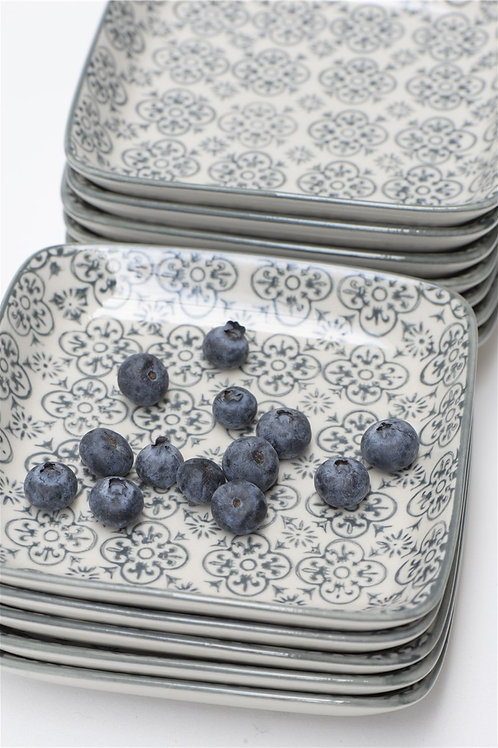 Small Square Plate Blue Grey Patterned