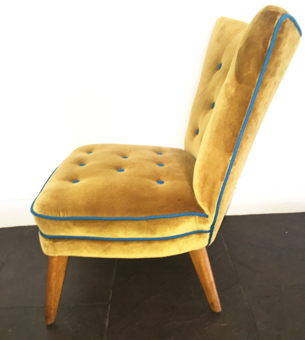 G Plan original easy chair in Mustard and Blue