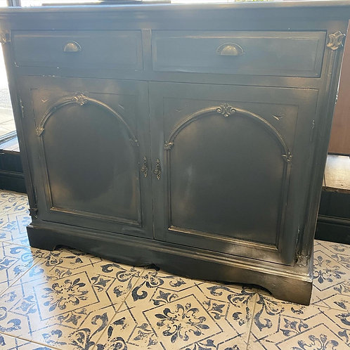 Blue and gold painted cupboard
