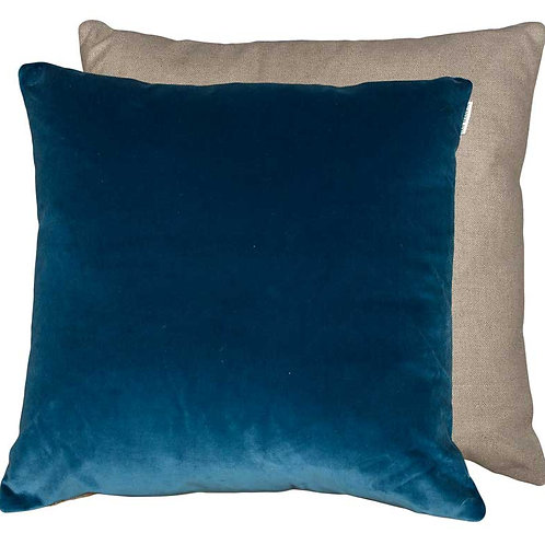 Rustic Blue Velvet and Beige cushion 50 x 50cm