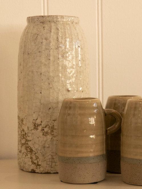 Rustic cream tall vase