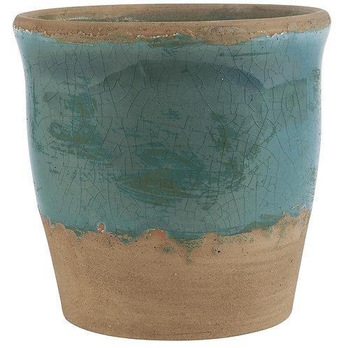 Ocean blue crackled plant pot