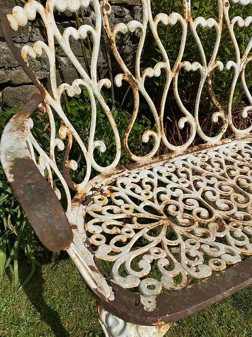 Wrought iron antique garden bench