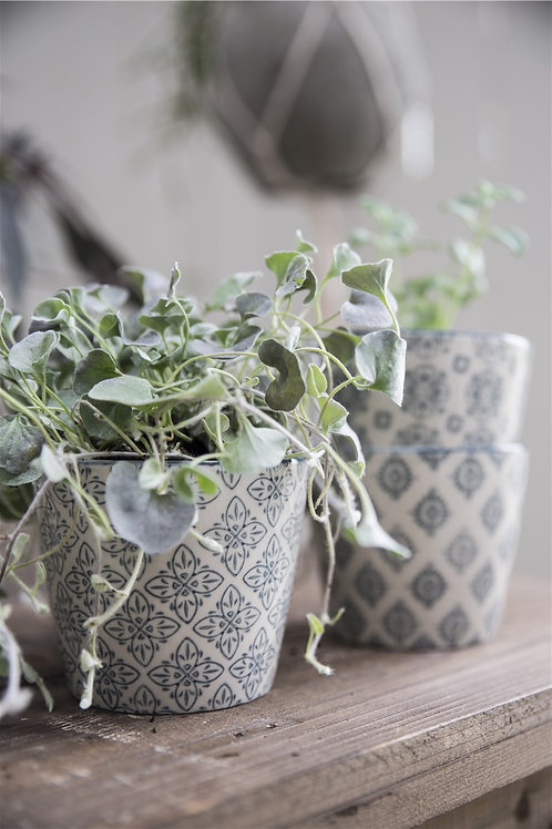 Blue and white patterned Cups/Plant pots