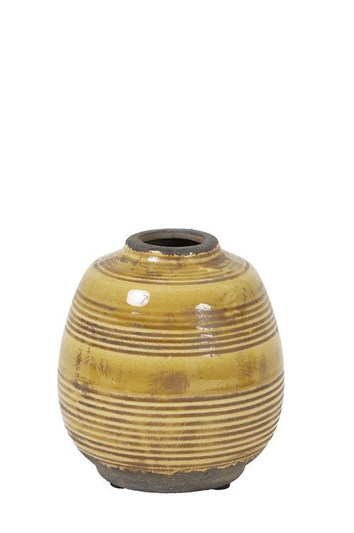 Mustard glazed squat vase