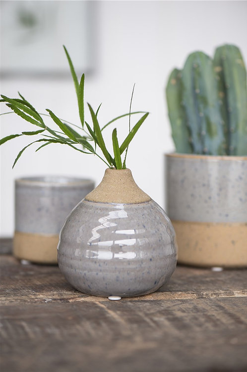 Grey and natural terracotta small rounded vase
