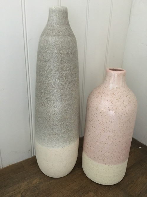 Large Matted Pale Pink And White Tall Vase