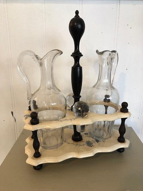 French antique decorative oil & vinegar set