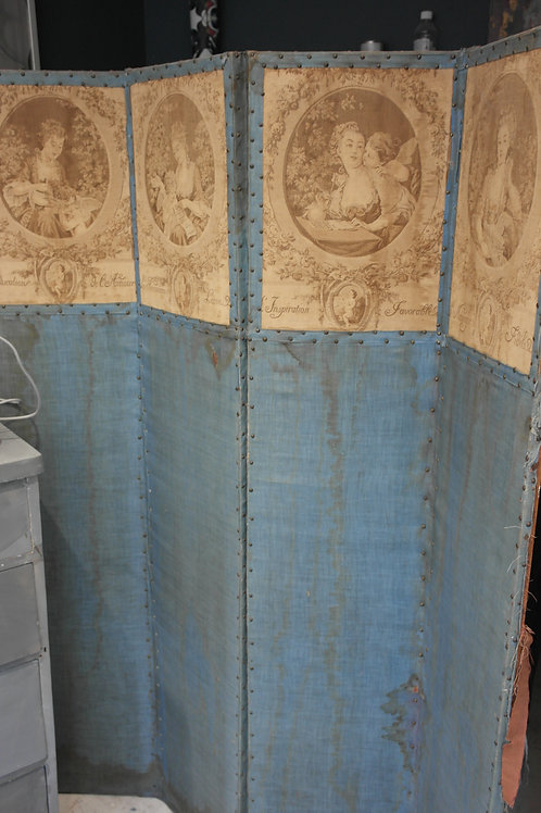Antique Screen Room Divider Turquoise