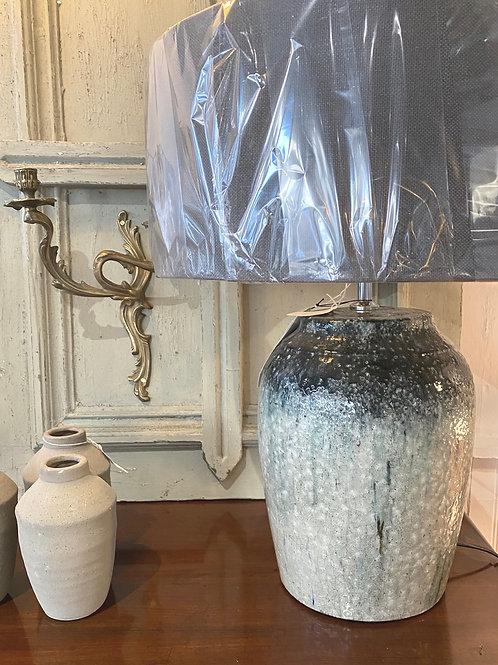 Large stone glazed green/grey lampbase