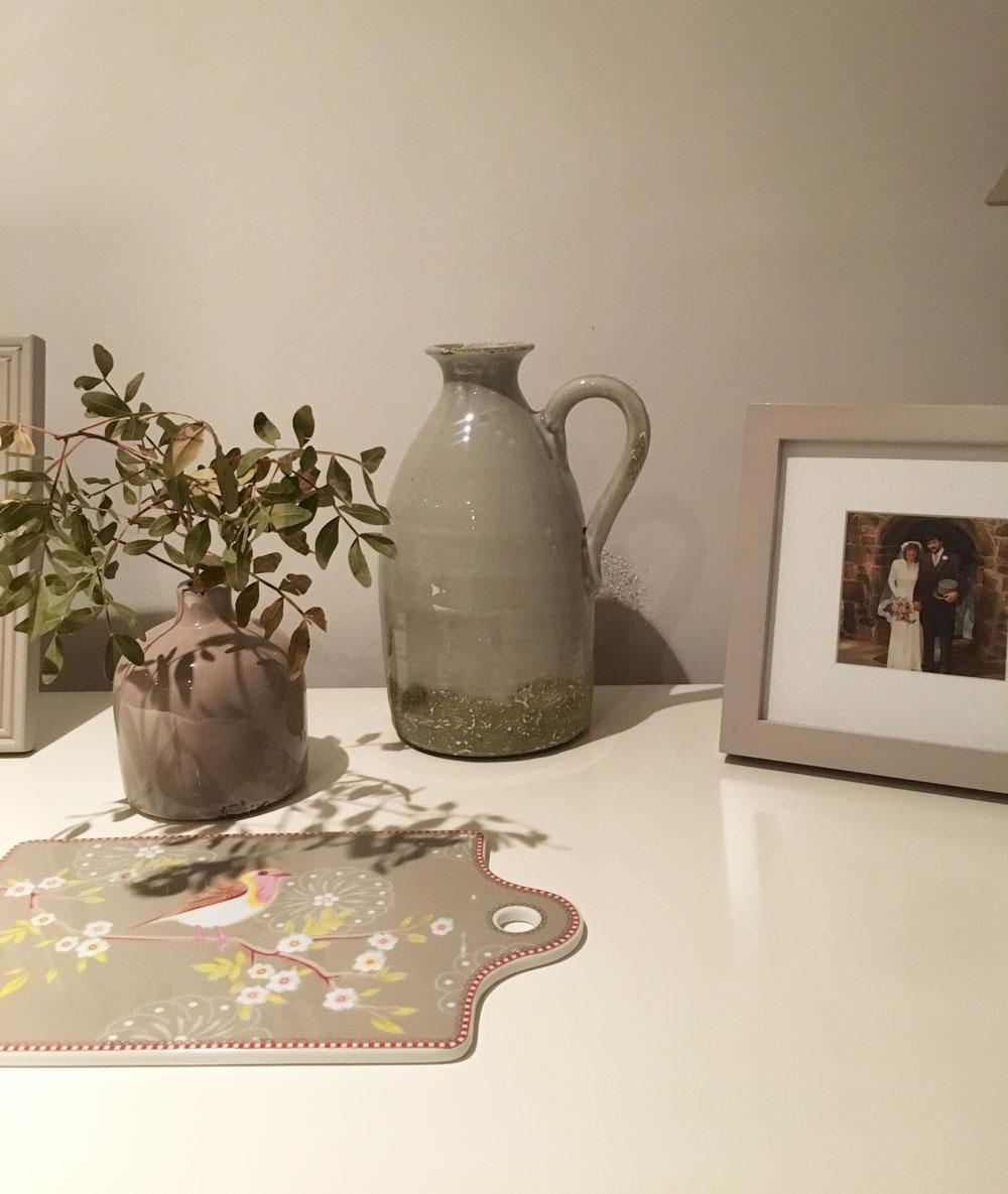 Moss green ceramic rustic jug with handle