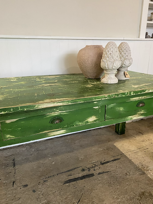 Large pine chippy paint green 3 drawer vintage table