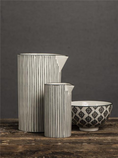 Black and white strip vases