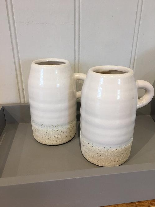 Small handle cream rustic jug