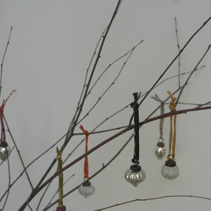 Twigs with glass baubles