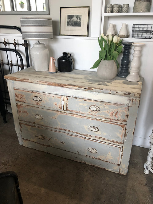 Rustic chest of drawers in pink and blue and cream chippy paint