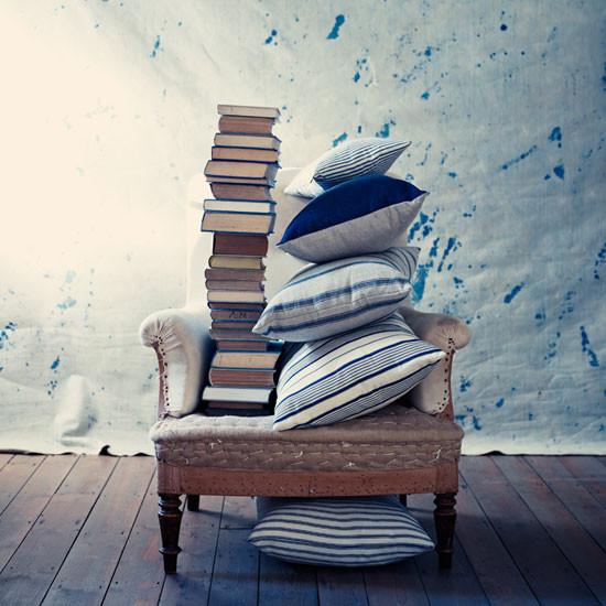 Ian Mankin Cushions Blue and White Stripes