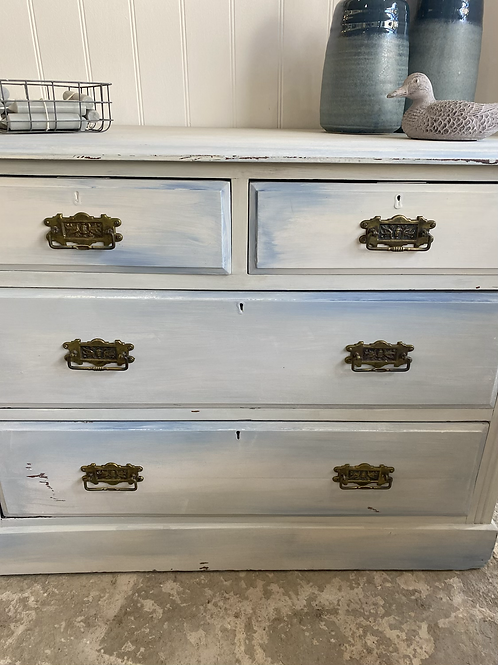 Cream and blue painted chest of drawers