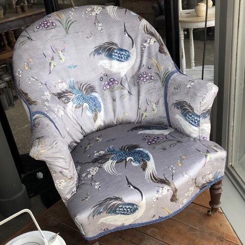 Vintage stork print velvet chair