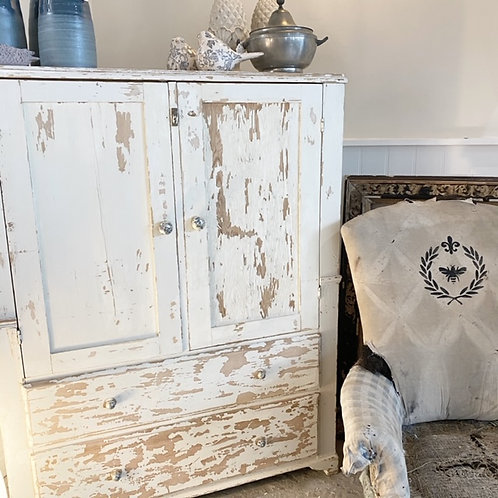 Cream chippy paint pine cupboard