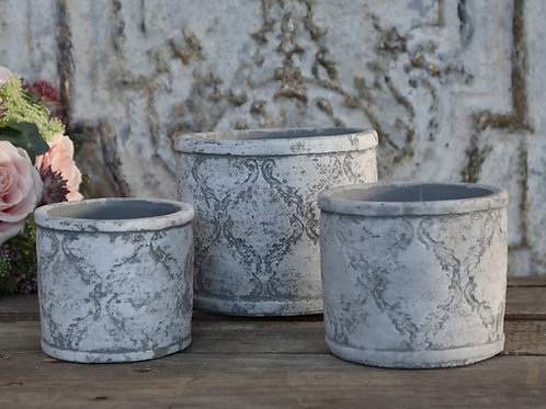 Faded pattern grey plant pot