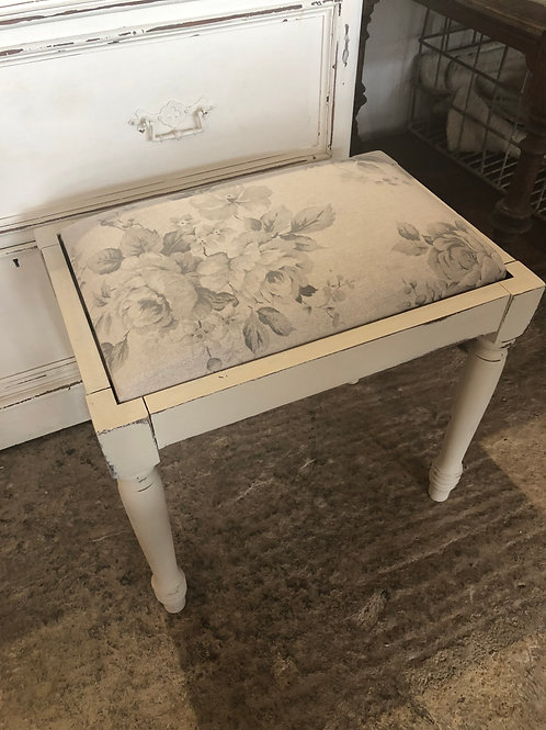 Cream painted floral stool