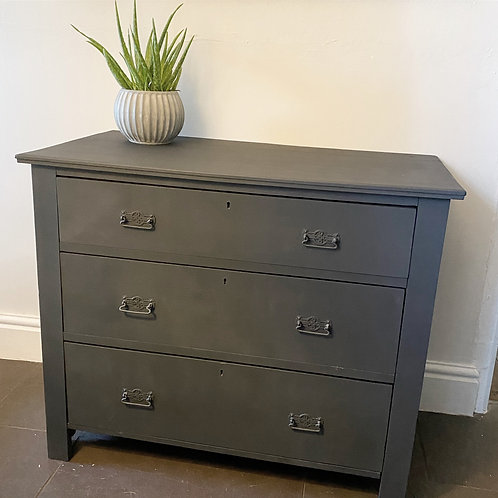Dark blue painted vintage chest of drawers