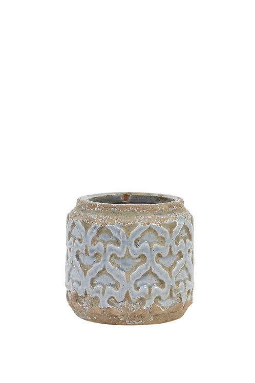 Squat small blue and stone pattern vase