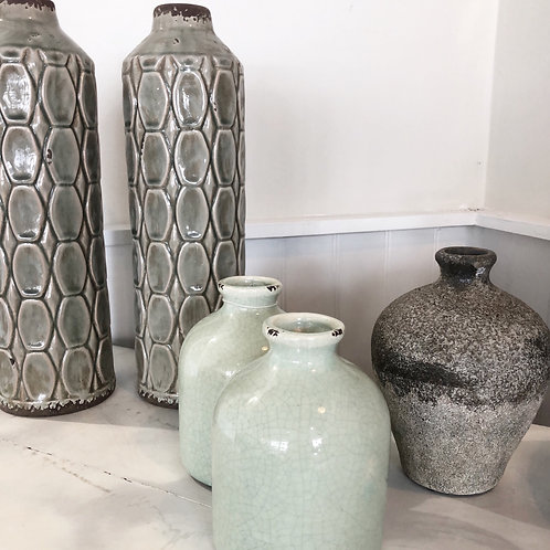 Pale green small squat vase