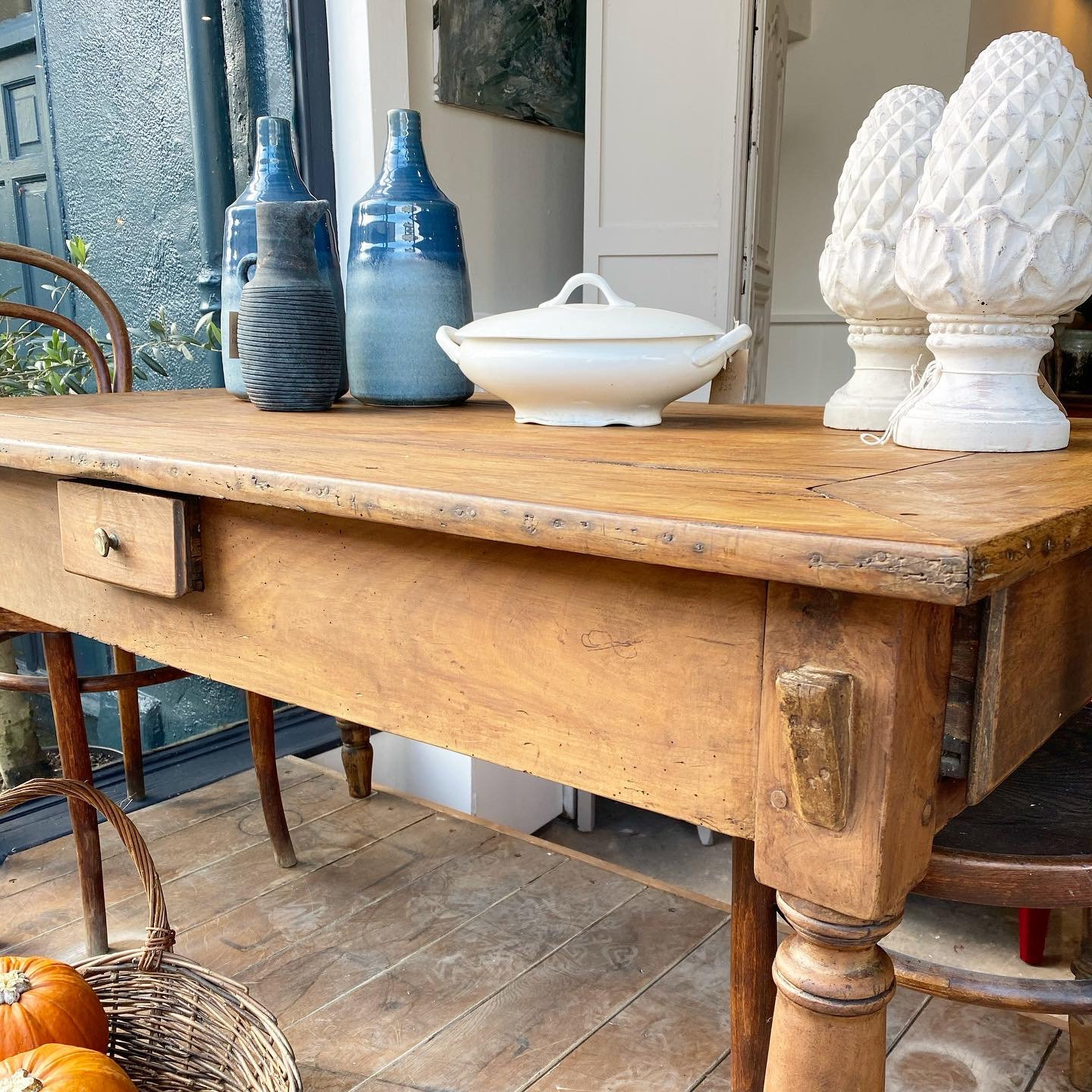 French Antique Pine Farmhouse Kitchen Table Smugfox