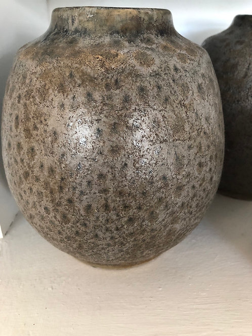 Squat grey/bronze vase