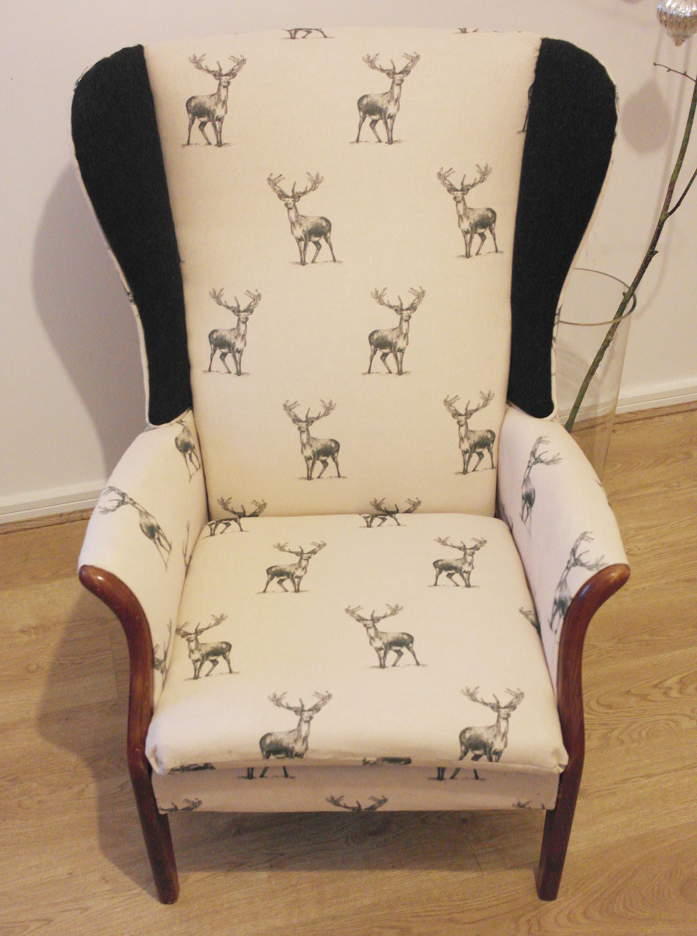 Parker Knoll Wing Back Chair in Stag Print