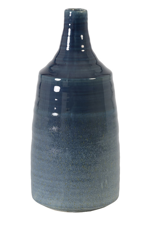 Petrol Blue Tall Ceramic Vase
