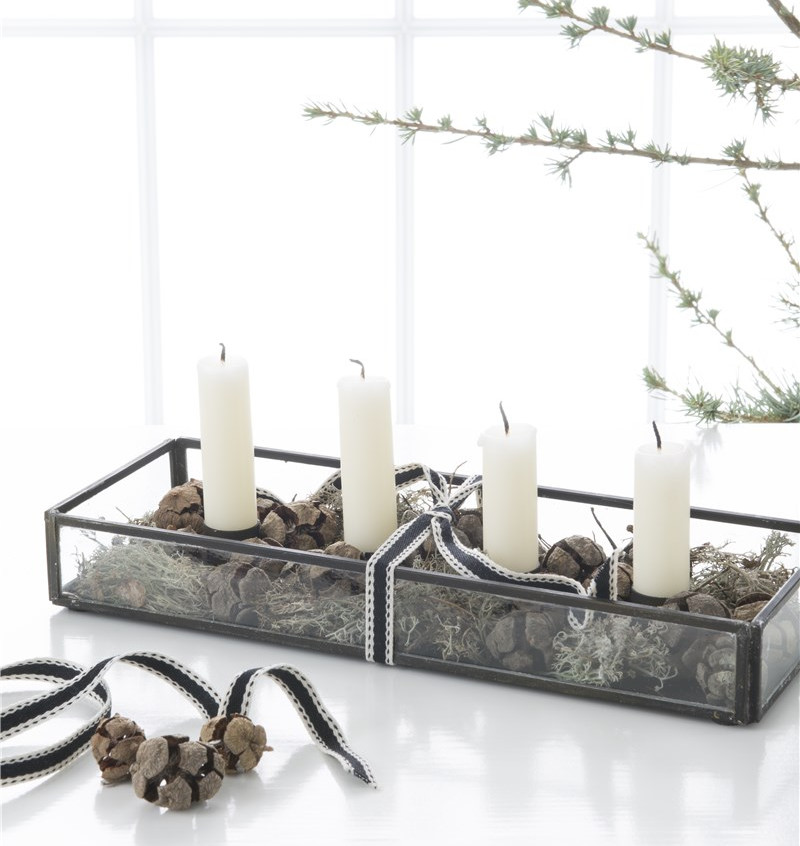 Metal Candle Holder Tray