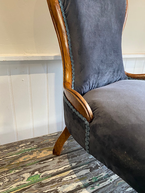 French bedroom chair newly upholstered in grey velvet with blue trim