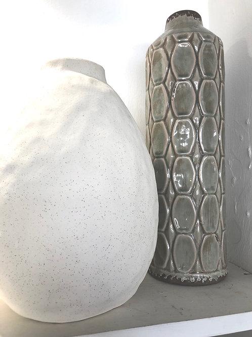 Large miss shape cream matt ceramic vase