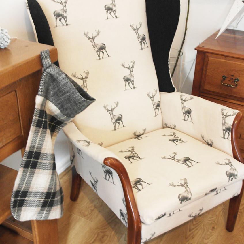 Stag print vintage armchair