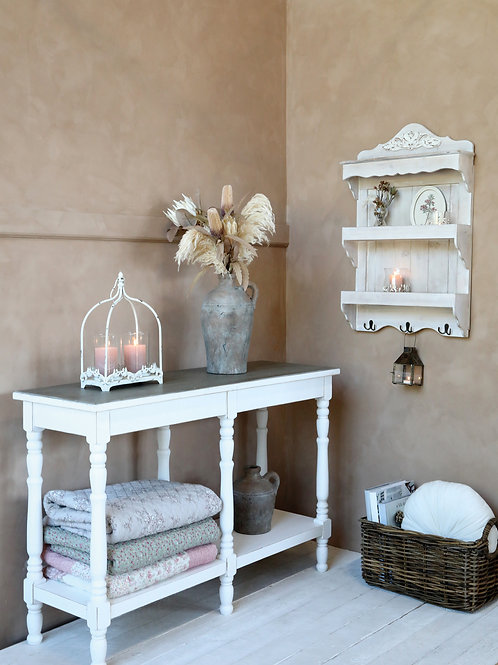 White wood shelved thin sideboard