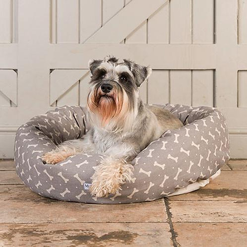 Donut dog bed grey bones pattern