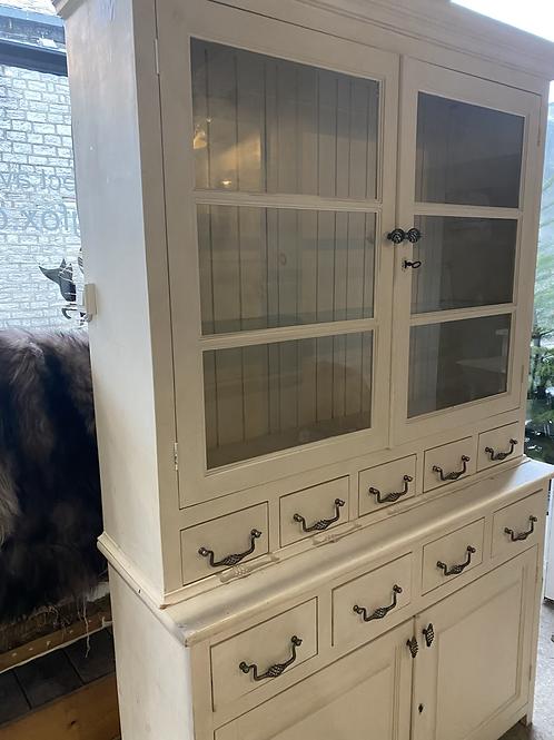 Large glass front vintage kitchen dresser, cream