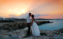 Bride and Groom, Kissing at Sunset on a Beautiful Mediterranean Beach |  best wedding photographer cyprus, nissi beach wedding prices, nissi beach weddings, nissi beach wedding photos