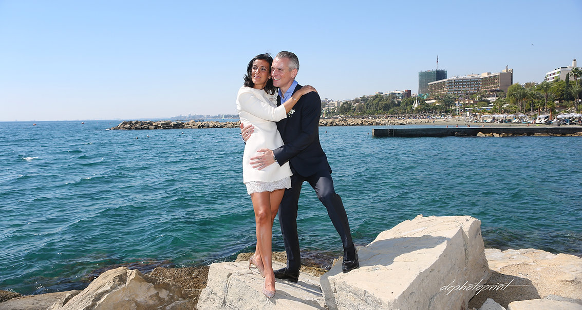 Just married couple on walking on the beach | wedding venues photographer in limassol cyprus, wedding photographers limassol cyprus