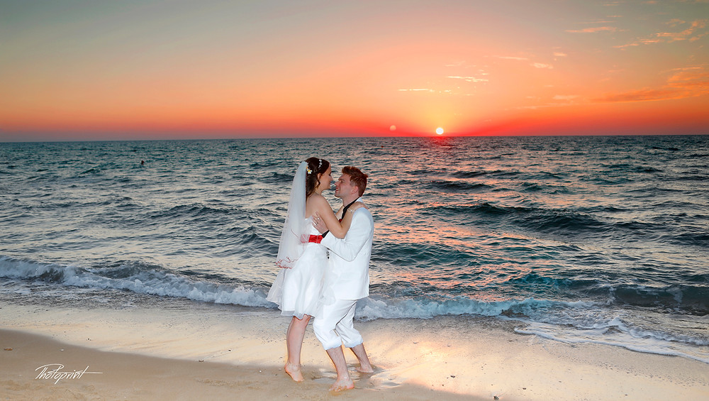 Bride and Groom, Kissing at Sunset on a Beautiful Mediterranean Paphos Beach