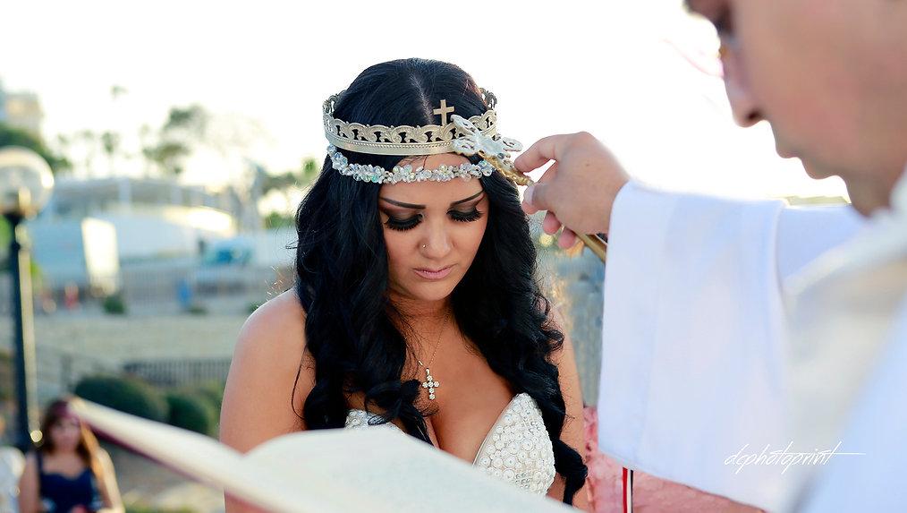 Bride at church outdoors on wedding ceremony at Protaras cyprus - wedding portfolio