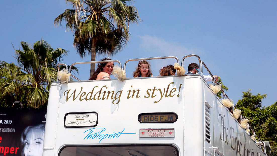 the Executive Bridal Bus travel through the paphos for the Hotel after the wedding | Geroskipou best wedding photography photographer, cyprus Geroskipou photographer paphos, marriage at city hall Geroskipou