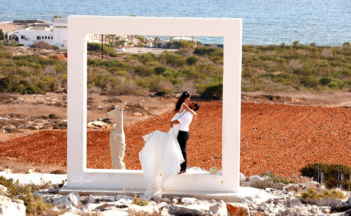Romantic scene of kissing marriage after the wedding ceremony | best wedding photographer in ayia napa, city hall ayia napa wedding photography cyprus