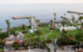 View of Beautiul garden at  AMATHUS BEACH HOTEL  framed from mediterranean Sea at limassol, cyprus.