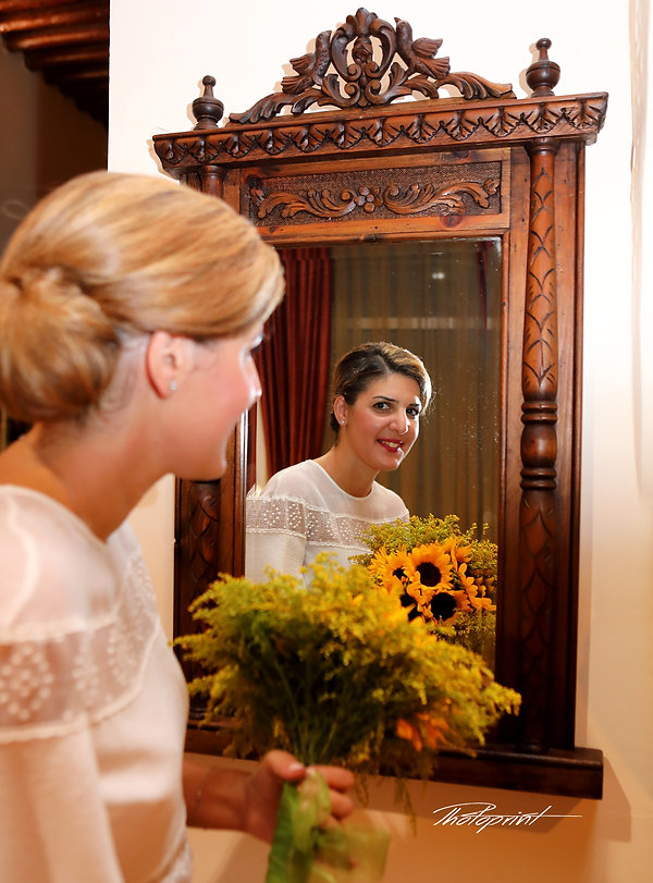 Portrait of the beautiful young bride against a mirror indoors the municipality, Larnaca, cyprus | cheap wedding photography Larnaca cyprus, cyprus civil wedding photography cost