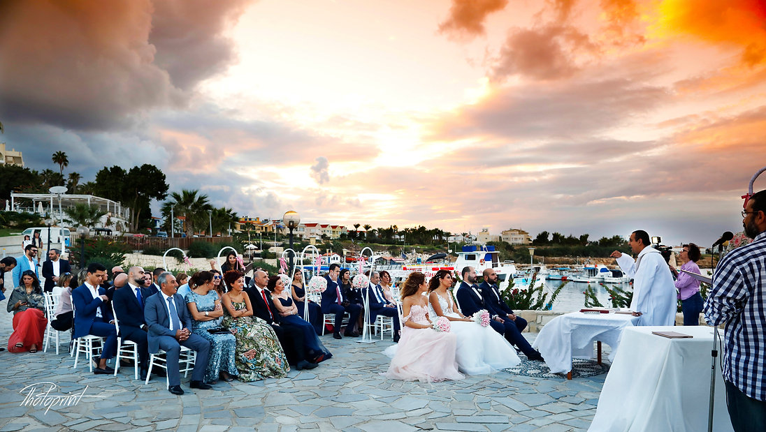 Wedding ceremony Protaras outdoor with Beautiful sunset. Happy couple  during wedding ceremony  | budget wedding photographer protaras, Protaras cheap but good wedding photographers, protaras cheap wedding photographers